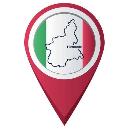 Illustration pour Map pointer with piemonte map - image libre de droit