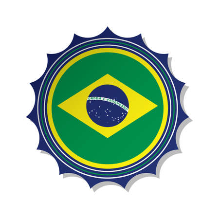 Illustration pour brazil flag label - image libre de droit