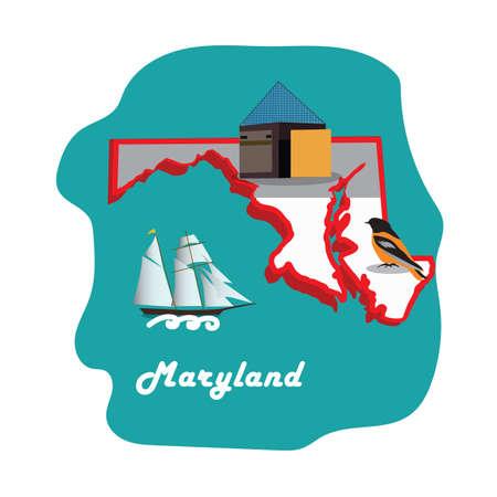 Illustration pour maryland state map with national aquarium baltimore - image libre de droit