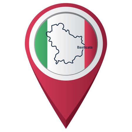 Illustration pour Map pointer with basilicata map - image libre de droit