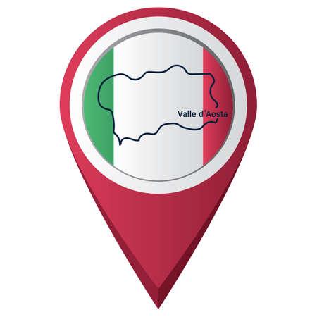 Illustration pour map pointer with valle d'aosta map - image libre de droit
