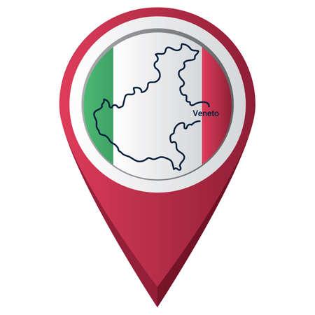 Illustration pour Map pointer with veneto map - image libre de droit