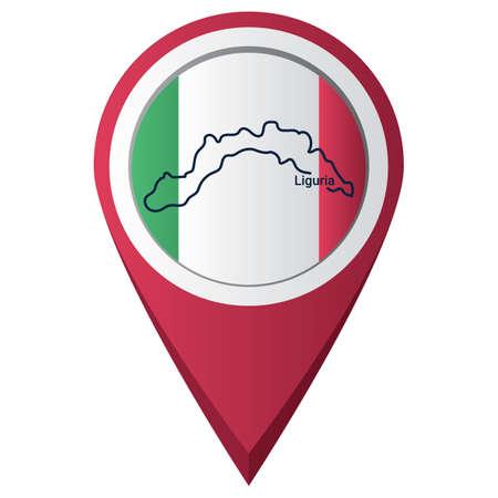 Illustration pour Map pointer with liguria map - image libre de droit
