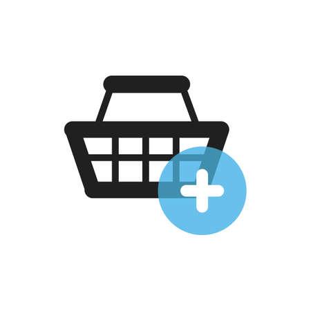Illustration pour shopping basket with plus symbol - image libre de droit