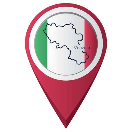 Illustration pour Map pointer with campania map - image libre de droit