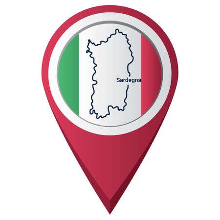 Illustration pour map pointer with sardegna map - image libre de droit