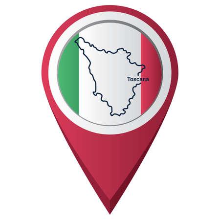 Illustration pour Map pointer with toscana map - image libre de droit