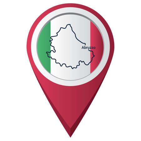 Illustration pour Map pointer with abruzzo map - image libre de droit