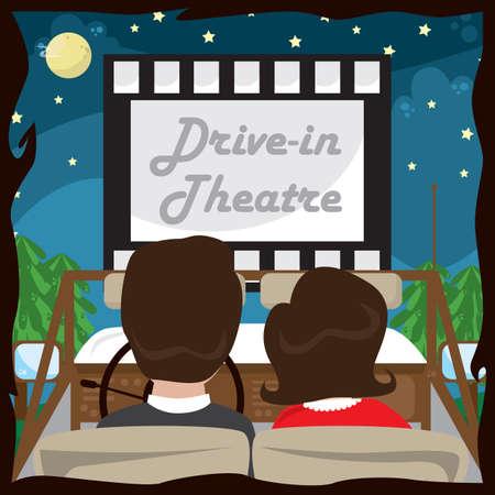 Illustration pour drive-in theatre - image libre de droit