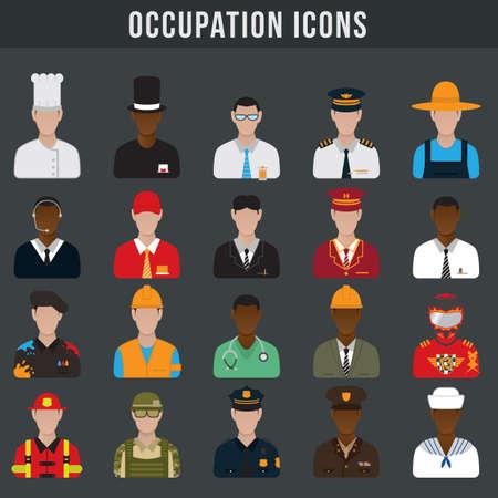 Illustration pour set of occupation icons - image libre de droit