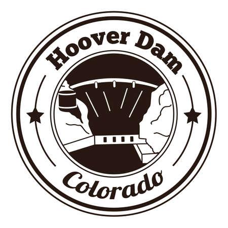 Illustration pour hoover dam label - image libre de droit