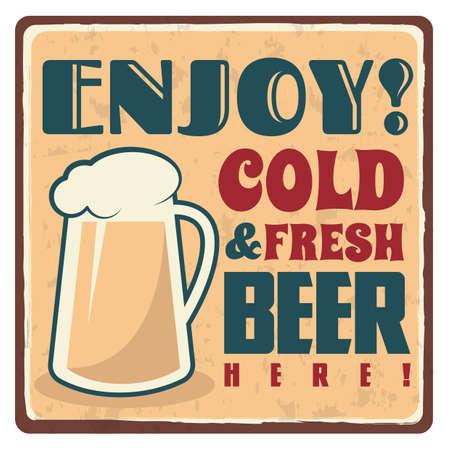 Ilustración de cold and fresh beer sticker - Imagen libre de derechos