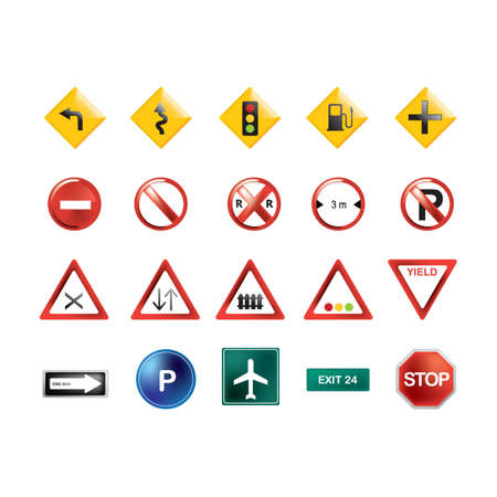 Illustration for collection of road signs - Royalty Free Image