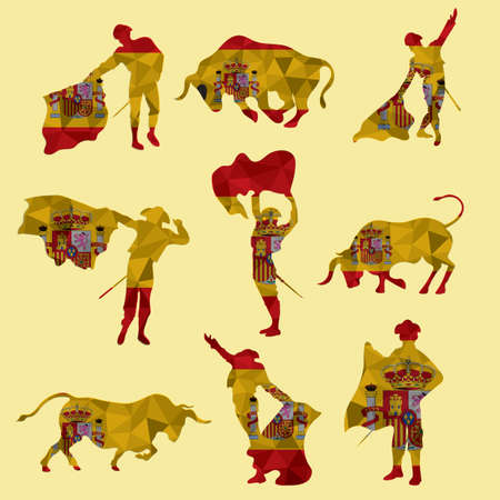 Illustration for set of bullfighting icons - Royalty Free Image