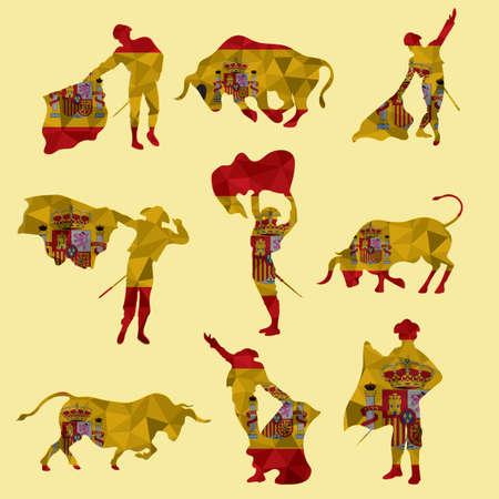 Illustration pour set of bullfighting icons - image libre de droit