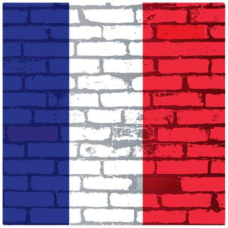 Illustration pour france flag bricks background - image libre de droit