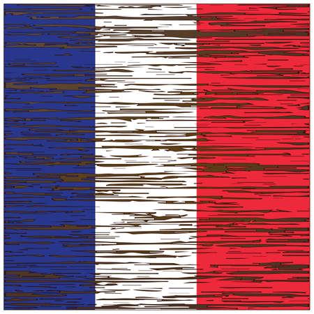 Illustration pour france flag wood texture background - image libre de droit