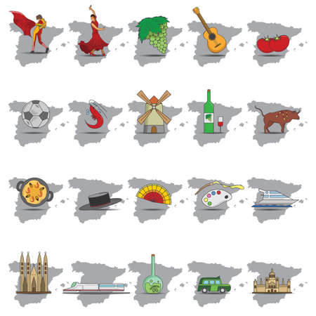 Ilustración de set of spain icons - Imagen libre de derechos