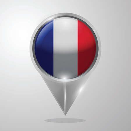 Illustration pour france flag map pointer - image libre de droit
