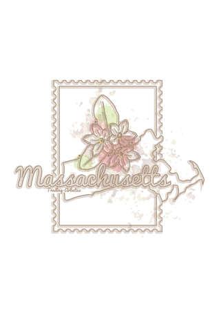 Ilustración de massachusetts map with flower - Imagen libre de derechos