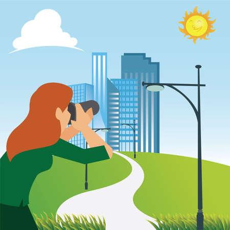 Illustration pour woman taking photograph - image libre de droit