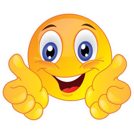 Illustration pour smiley face showing thumbs up - image libre de droit