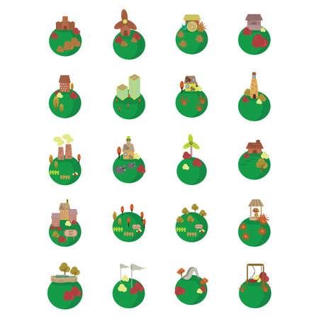 Ilustración de set of houses on globe - Imagen libre de derechos