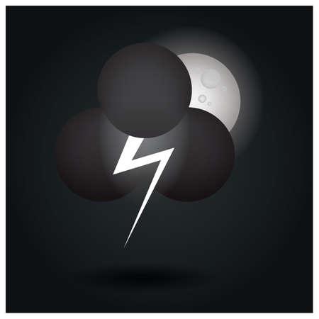 Illustration pour thunder cloud and moon - image libre de droit