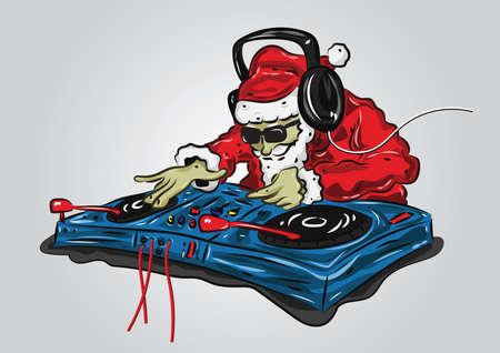 Illustration pour santa claus as a dj mixer - image libre de droit