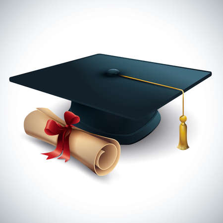 Illustration for mortar board with certificate - Royalty Free Image