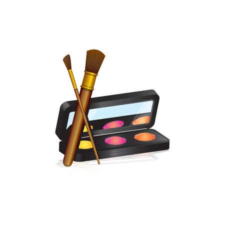 Ilustración de Eye shadow palette and brushes - Imagen libre de derechos