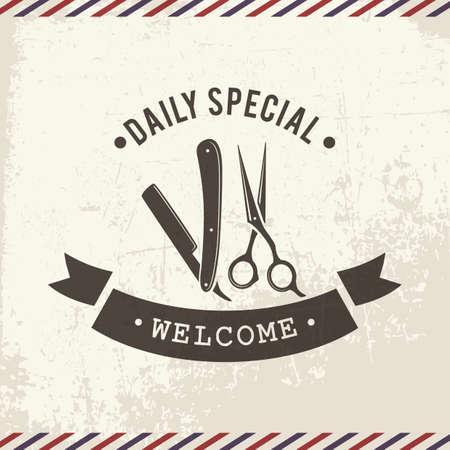 Ilustración de barbershop welcome board - Imagen libre de derechos