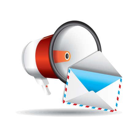 Illustration pour Megaphone and envelope - image libre de droit
