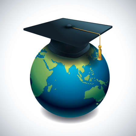 Illustration for A globe with mortar board concept of success. - Royalty Free Image