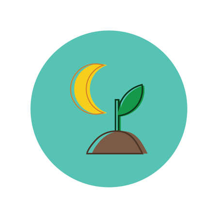 Illustration pour sapling with moon - image libre de droit