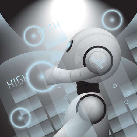 Illustration pour Robot playing with the dj mixer - image libre de droit