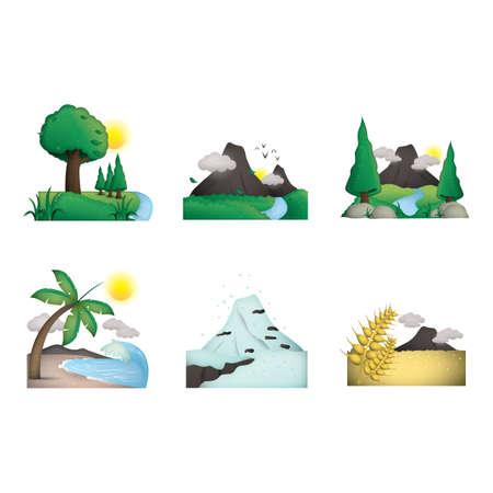 Ilustración de Collection of various scenic landscapes - Imagen libre de derechos