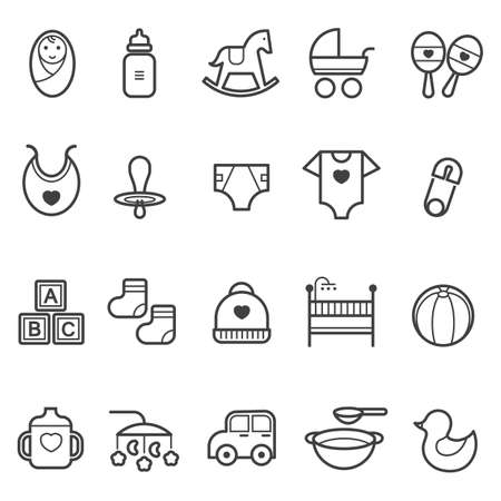 Illustration pour baby icon set - image libre de droit