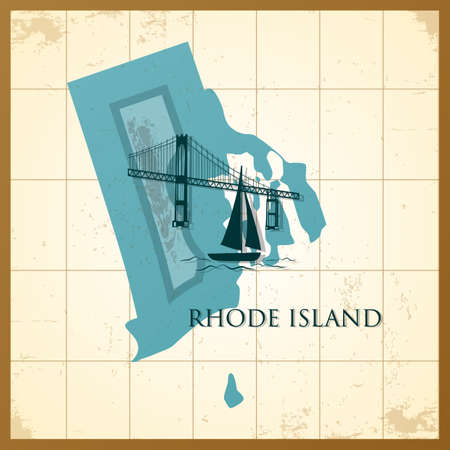 Illustration for map of rhode island state - Royalty Free Image
