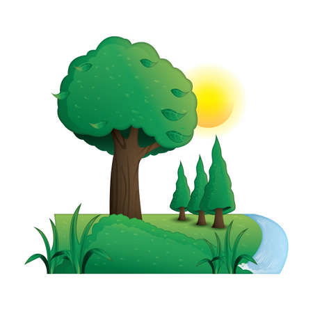 Ilustración de Trees beside a river - Imagen libre de derechos