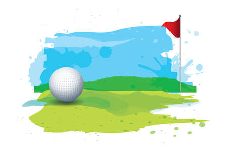 Ilustración de golf ball in golf course - Imagen libre de derechos
