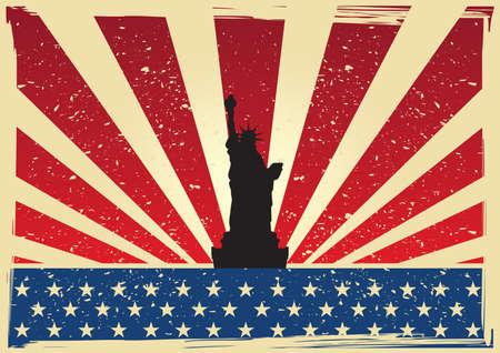 Illustration pour usa flag with statue of liberty poster - image libre de droit