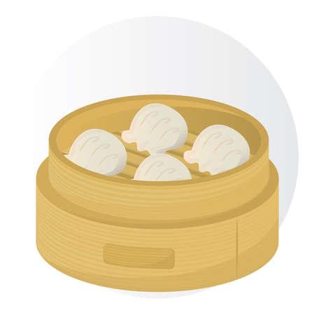 Ilustración de dim sum in a bamboo basket - Imagen libre de derechos
