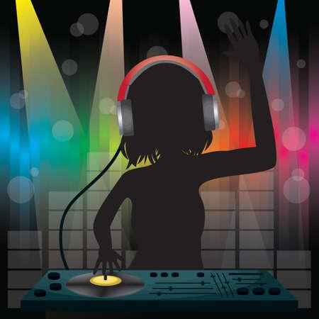 Illustration pour DJ playing mixer - image libre de droit