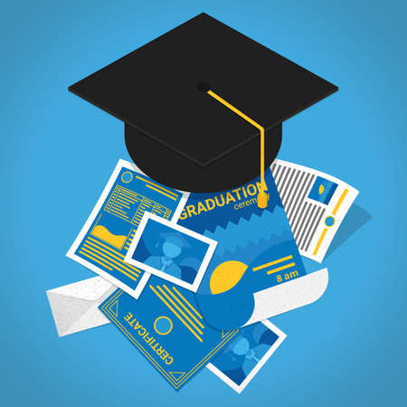 Illustration for mortar board with certificates - Royalty Free Image