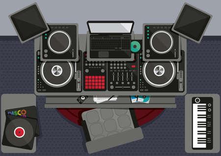 Illustration pour Collection of dj musical equipments - image libre de droit