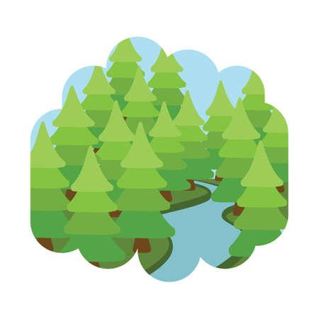 Ilustración de Trees and river - Imagen libre de derechos