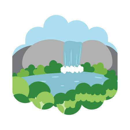 Ilustración de Waterfall scenery - Imagen libre de derechos