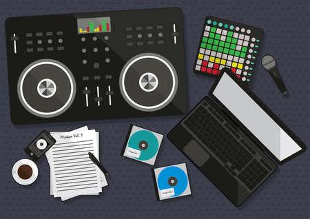 Illustration pour Set of dj musical equipment - image libre de droit
