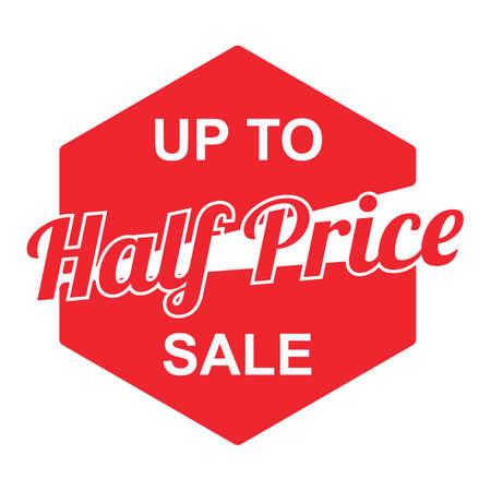 Ilustración de half price sale label - Imagen libre de derechos